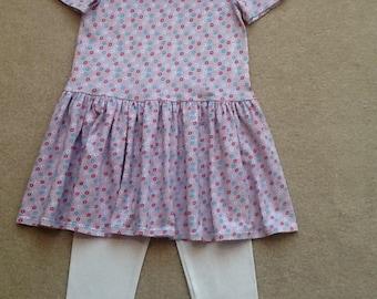 Girls soft cotton dress with leggings