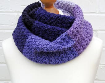 Purple Lavender and Lilac Winter Infinity Scarf, Circle Crochet Knit Scarf, Caron Cakes, Purple Warm Cowl Ladies Children Winter Accessories