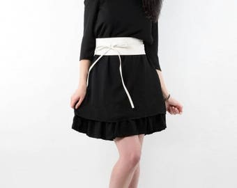 Straight dress with belt and ruffle detachable T36