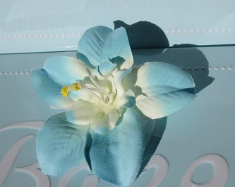 hair clip, white and blue orchid