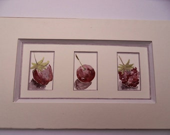 rustic watercolor: 3 red berries