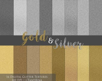 Silver and Gold Glitter Paper, Digital Glitter Textures, Digital Paper for Photoshop and More! - Set of 16