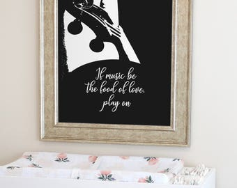 Quote about Music, Gift for Musician, Music wall art, Gift for music lover, Music art print, Musician print, Violin Print, Instant Download