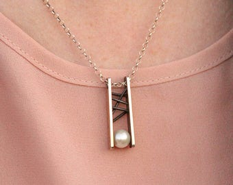 Minimalist Geometric Mixed Media Pendant in Silver and Pearl -- masterfully crafted and utterly unique
