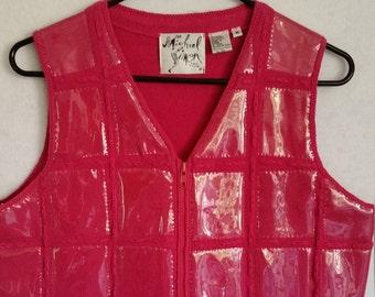 VEST, rare, 1995 vintage Michael Simon VEST, clear vinyl windows, look like pockets, bright, understated Christmas vest, window vest,