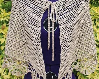 Warmer, crochet, lace, cotton and viscose beige shawl bolero shawl