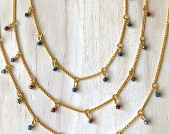 Choker style necklaces with crystal beads