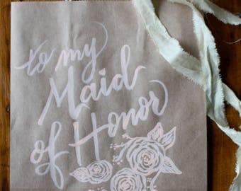 Custom calligraphy kraft gift bag | Peach ink | Wedding party | Thank you gift