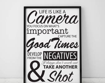 Life Is Like A Camera Inspirational Printable Quote A3 & Smaller Digital Download