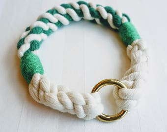 Green Cable Nautical Rope Dog Collar