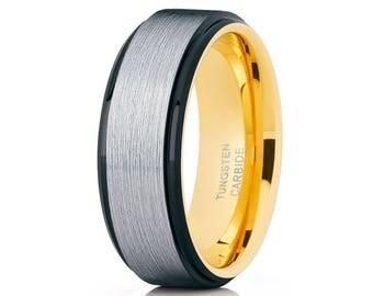 Yellow Gold Tungsten Ring Men & Women Tungsten Wedding Band Anniversary Ring Comfort Fit Tungsten Carbide Ring
