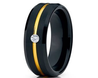 Black Tungsten Wedding Band White Diamond Tungsten Ring Men & Women Tungsten Carbide Ring Anniversary Ring Comfort  Fit