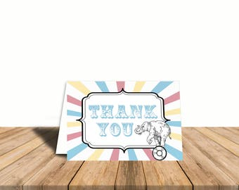 Pastel Carnival Circus Thank You Card, Blank Inside, Automatic Digital Download, Gender Neutral