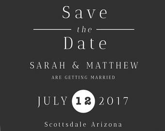 Grey & Gold Wedding Save the Date Design