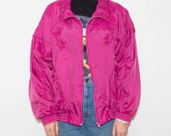 Wind Jacket, Windbreaker, Sport Jacket, 90s Windbreaker, Floral, Embroidery, Sportswear, Windbreaker Jacket, Nylon Jacket, Retro, Magenta