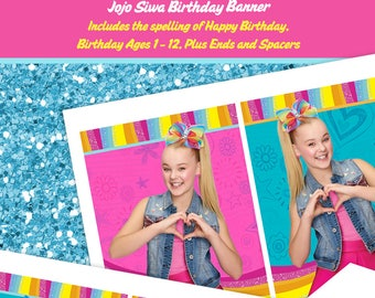 JoJo Siwa Birthday Banner - Matches Party Invitation - Printable File, Instant Download