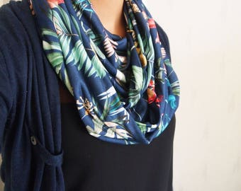 Snood collar double mid-season, floral, tropical flowers Palm trees