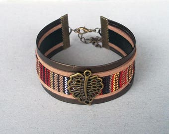 Cuff ethnic, bronze brown leaf and multicolor