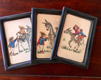 1950s Framed Postcards by Mexican Artist Magrol
