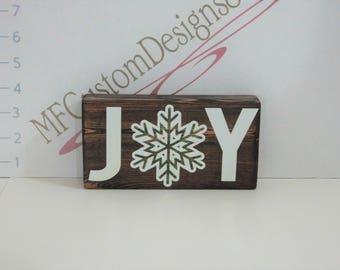 JOY with Snowflake Wood Sign - handmade