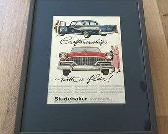 Vintage Studebaker framed and matted Life Magazine Ad