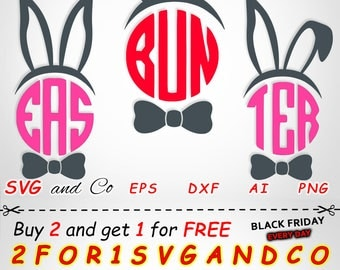 SALE! Bunny Ears with a Bow clipart set - Easter SVG file - instant download - Files for Cricut and Silhouette - svg, eps, dxf, png - SAC228