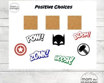 Positive Choices: Super Hero Laminated Chart for daily routines, tasks and chores