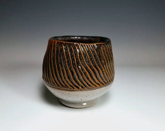 Textured Bowl / Crackle Pottery / Ridged Bowl / Tall Ceramic Bowl / Stoneware Bowl / Wheel Thrown Bowl / Handmade Bowl