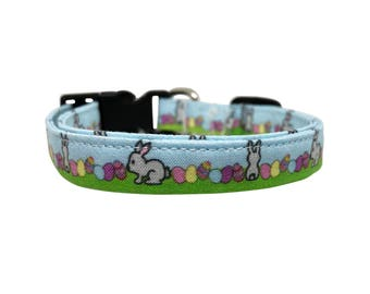 Cute Bunny Rabbit and Easter Egg Dog Collar for Small Dogs