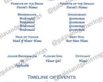 Wedding Program & Day of Timeline with icons and pictures