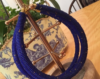 Royal Blue & Gold Bead Necklace