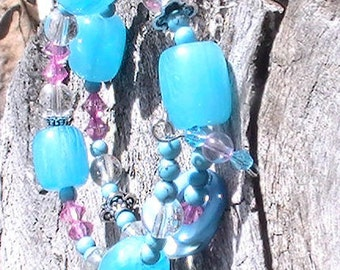 Glass beads Memory wire Bracelet