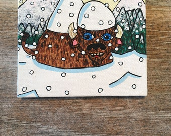 """Bison in the snowy Rocky Mountains 4x4"""" canvas painting"""