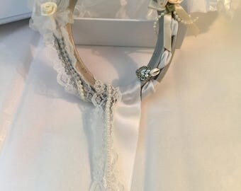 SATIN 'n' LACE Hand Decorated Real Lucky Wedding Horseshoe