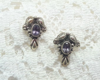 Amethyst Sterling Silver Post Earrings/Faceted Amethyst/Handmade/ Free Shipping US/Vintage/February Birthstone