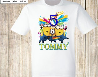 Personalized Minion Birthday Boy iron on transfer Minion Birthday Party t-shirt iron on transfer Minion Birthday shirt iron on transfer.