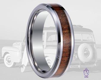 6mm Hawaiian Koa And Tungsten Wedding Band