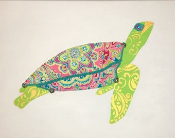 Green Sea Turtle 1 (green) - original mixed media on canvas