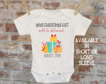 Your Christmas Gift Will Be Delivered Pregnancy Reveal Onesie®, Reveal to Grandparents, Pregnancy Announcement, Coming Soon Onesie - 391Y