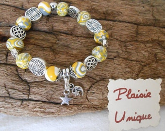 Yellow grey white bracelet