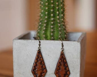 Amy Tooled Medium Brown Earrings | Leather Earrings | Birthday Gift | Anniversary | Gifts under 25 | Handmade | Gifts for Her