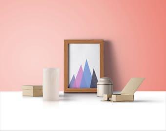 Mountain Poster, Mountain Printable, Mountains Poster, Geometric Mountains, Abstract Mountains, Nordic Poster Print, Geometric Mountain