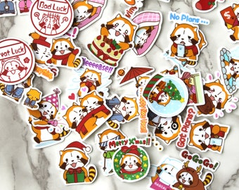 BULK 35PCS Assorted Die Cut Kawaii Animal Planner Stickers, Birthday Gift For Her, Fridge Stickers, Cute Emotions Stickers, Handmade Gifts