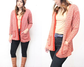 60s Orange Button Up Knitwear Cardigan