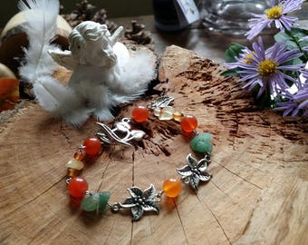 Bracelet with orange calcite and Aventurine - 18 cm - Fleur Edelweiss by AngelS SignS