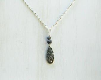 Teardrop design essential oil necklace