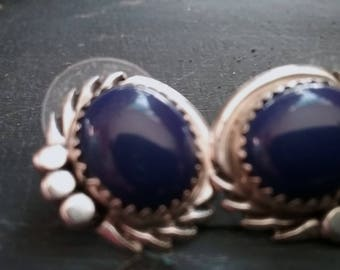 Native American jewelry Navajo Lapis and Sterling Silver Earrings