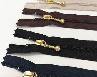 YKK 20cm/25cm/30cm Closed End Zipper with Gold metal pull - Made in Japan