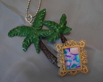 Vaporwave Palm tree necklace w