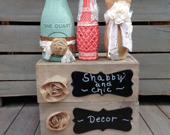 Coral and Mint Milk Bottle Burlap and Lace Centerpiece